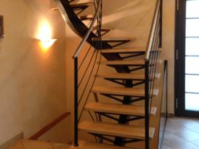 Escalier Limon Central Acier Bois Semak